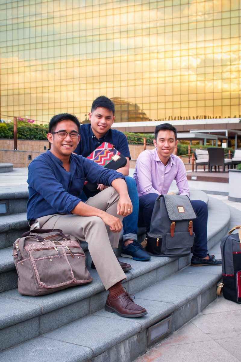 #TeamAkaba with the Cargo Boston Bag in Red Ramit, Alumno Knapsack in Blue Ramit, and Pisyabit laptop sleeve (Photo by Jericho San Miguel)