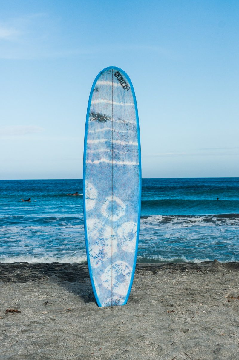One of Skwala's surfboards made with tie-dyed fabric designed by Luisa Jimenez of clothing brand World of Patterns (Photo by Mike Alegado)
